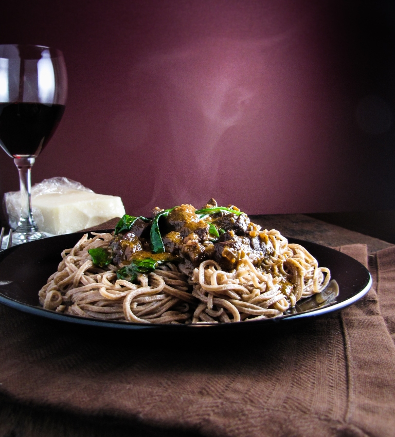 Cocoa Linguine with Venison Ragu {Katie at the Kitchen Door}