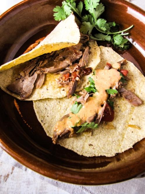 Duck Tacos with Habanero Cream Sauce {Katie at the Kitchen Door}