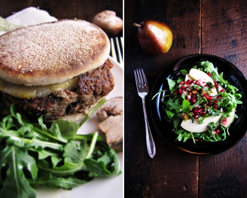 Winter Cleanse Week Two - Mushroom and Olive Veggie  Burger, Pear and Pomegranate Salad