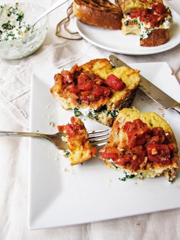 Italian-Style Stuffed French Toast  (Like a lasagna sandwich...)