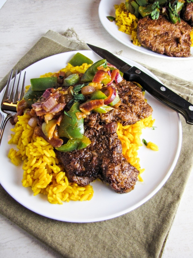 Minute Steaks with Spanish Rice and Picadillo (from Blue Apron Meals)