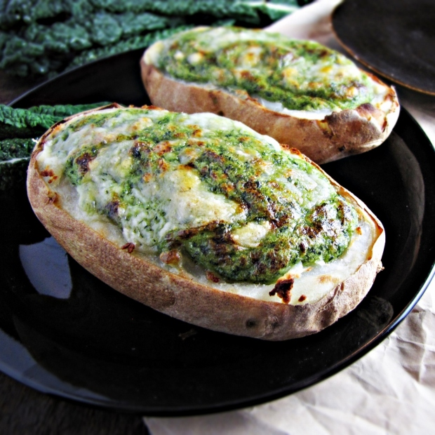 Twice-Baked Broccoli-and-Kale-Stuffed Potatoes {Katie at the Kitchen Door}