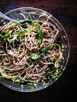 Soba Noodles with Kale, Sesame and Slivered Brussels Sprouts {Katie at the Kitchen Door}