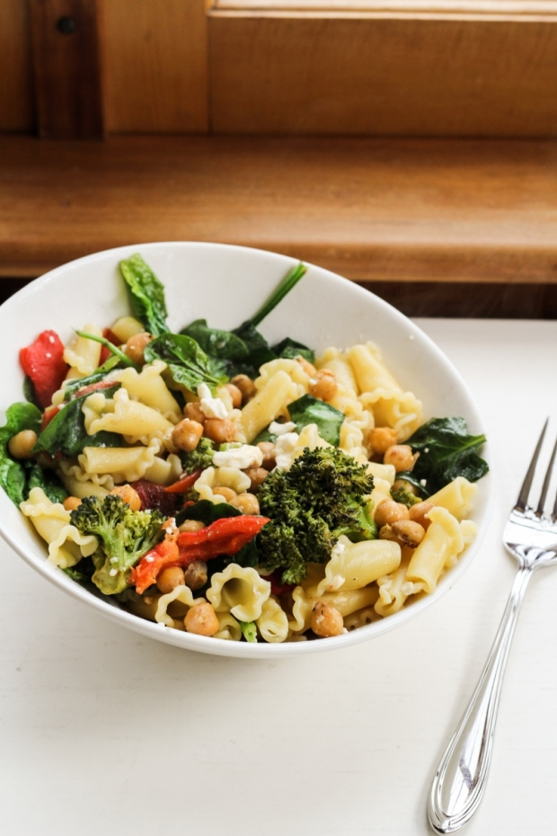 Roasted Veggie Mediterranean Pasta Salad {Katie at the Kitchen Door}