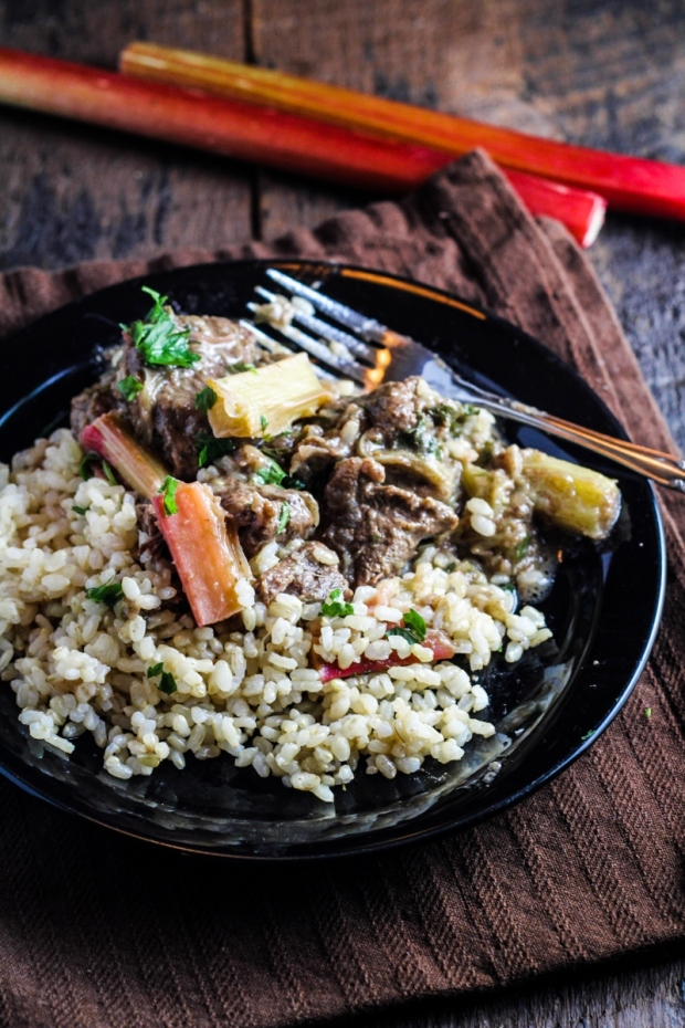 Persian Beef with Rhubarb and Rice {Katie at the Kitchen Door}