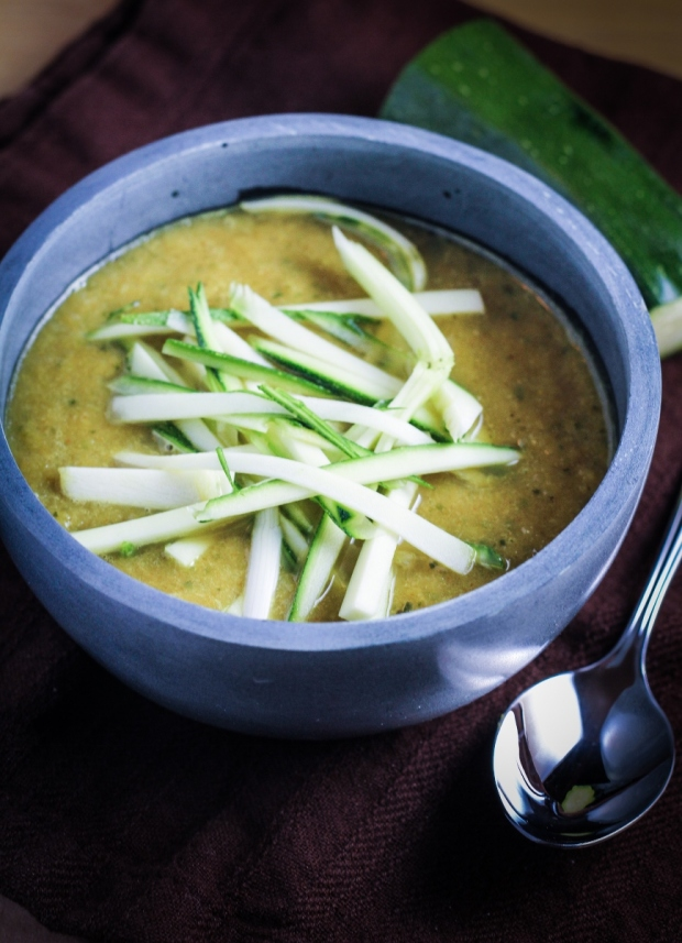 Curried Leek and Zucchini Soup {Katie at the Kitchen Door}