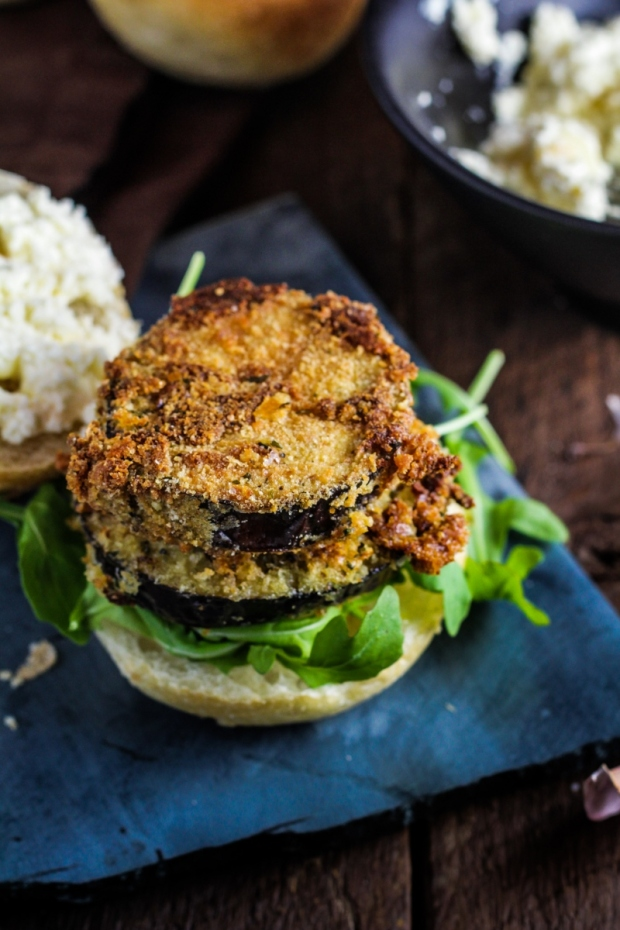 Crispy Eggplant Sandwiches with Roasted Garlic Ricotta Spread {Katie at the Kitchen Door}