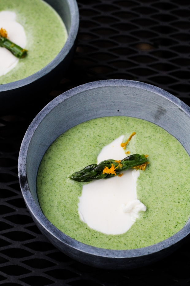Sunday Dinner: Chilled Asparagus Soup with Meyer Lemon Yogurt {Katie at the Kitchen Door}
