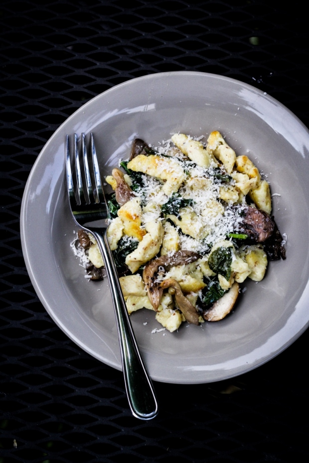 Sunday Dinner: Mustard Spaetzle with Mushrooms {Katie at the Kitchen Door}