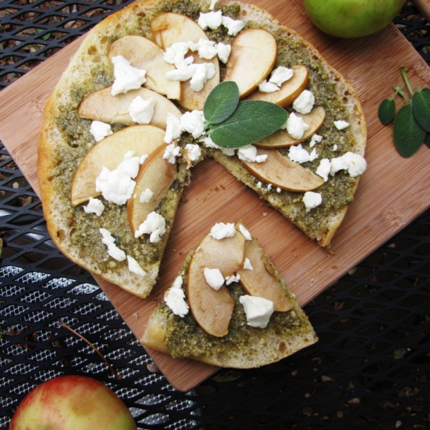 15 Favorite Fall Recipes - Sage Pesto, Apple, and Goat Cheese Flatbreads