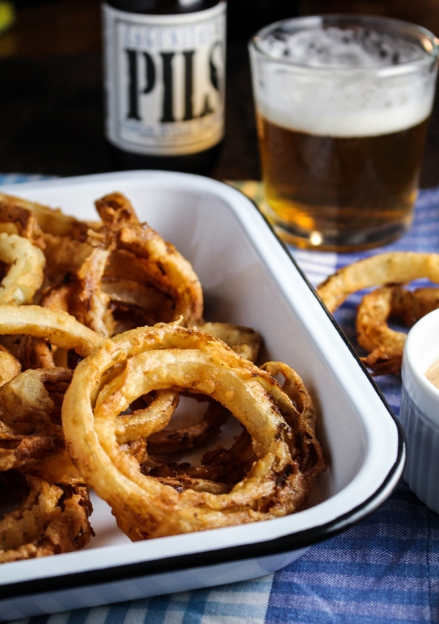 Vidalia Onion Rings with Beer Mustard Aioli {Katie at the Kitchen Door}