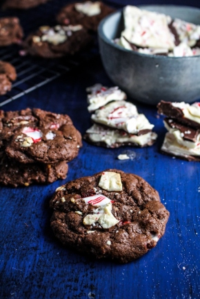Chocolate Peppermint Bark Chip Cookies {Katie at the Kitchen Door}