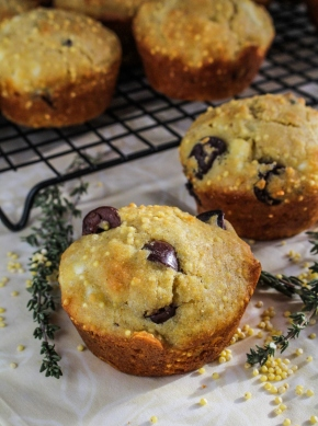 Savory Feta-and-Olive Corn Muffins #glutenfree #healthyeating {Katie at the Kitchen Door}
