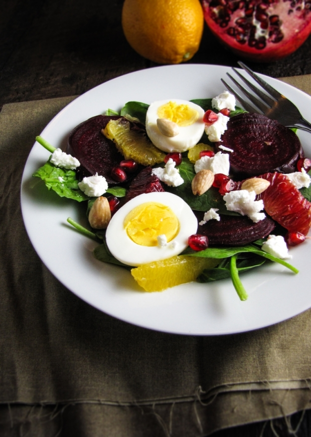 Winter Cleanse 2014: Healthy Dinner Recipes - Roasted Beet and Spinach Salad {Katie at the Kitchen Door}