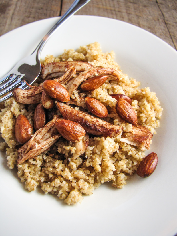 Healthy Winter Recipes - Bulghur with Butter-Roasted Almonds and Chicken