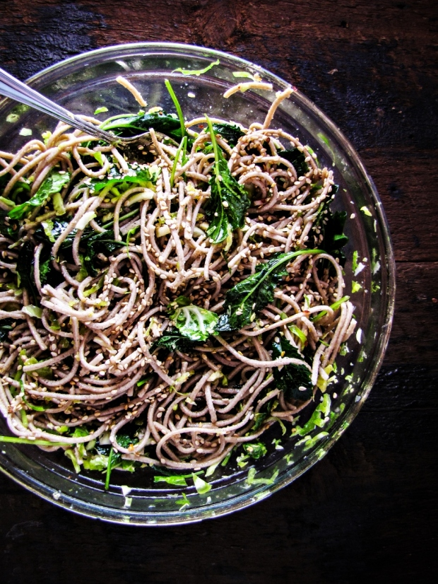 Winter Cleanse 2014: Healthy Dinner Recipes - Soba Noodles with Kale and Slivered Brussels Sprouts {Katie at the Kitchen Door}